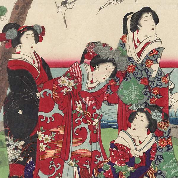 Beauties Freeing Herons by Chikanobu (1838 - 1912)