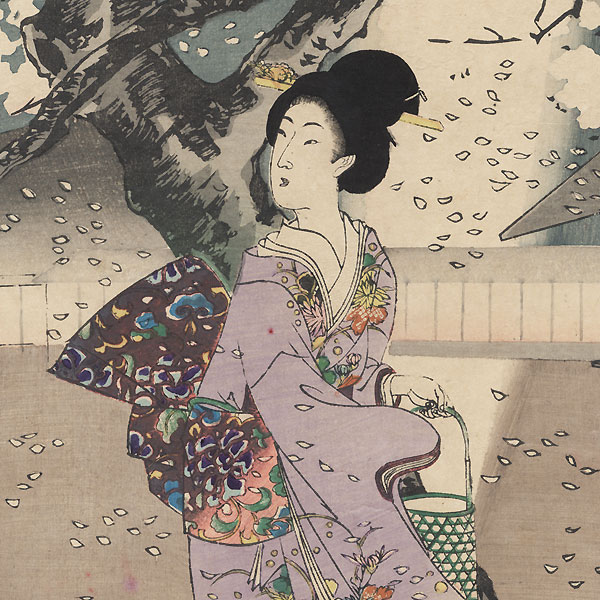 Night Cherry Blossom Viewing in the Garden by Chikanobu (1838 - 1912)