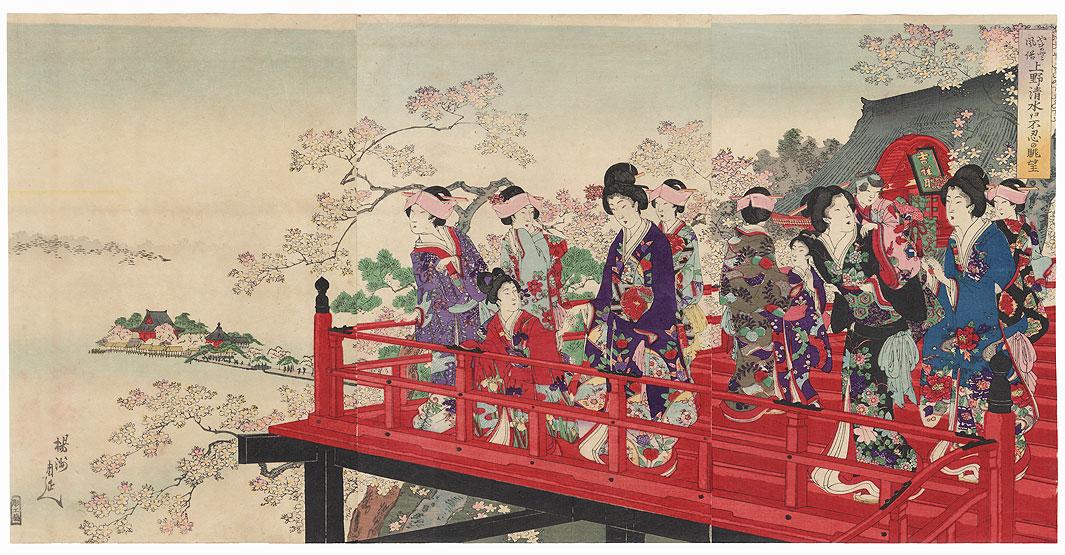 Panoramic View of Shinobazu Pond from Kiyomizu Temple by Chikanobu (1838 - 1912)