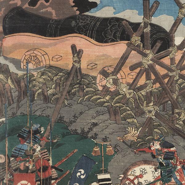 Cannon Attack on a Castle, 1847 - 1852 by Yoshitora (active circa 1840 - 1880)