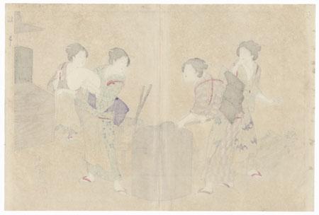 Pounding Rice, 1903 by Chikanobu (1838 - 1912)