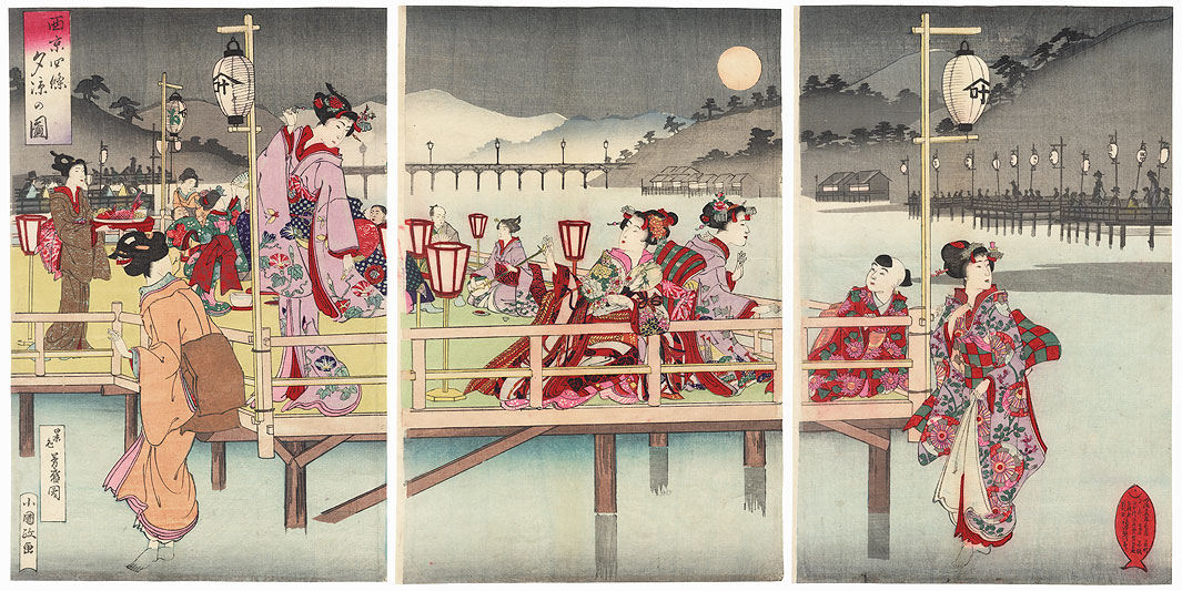 Cooling Off at Shijo, 1892 by Kokunimasa (1874 - 1944)