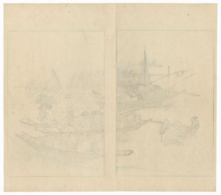 Fishing, 1892 by Meiji era artist (not read)