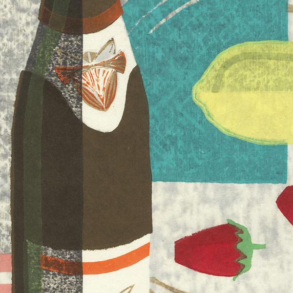 Fruit, Earthenware Pot, and Glass by Akira Kunaga (born 1932)