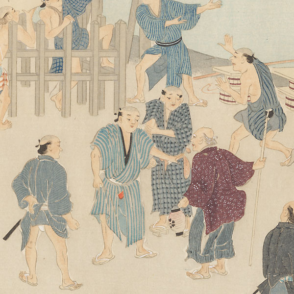 Changing the Notice Board at Nihon Bridge, 1921 by Shin-hanga & Modern artist (not read)