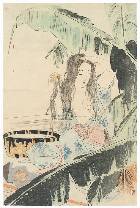 Beauty after a Bath Kuchi-e Print by Mishima Shoso (1856 - 1928)
