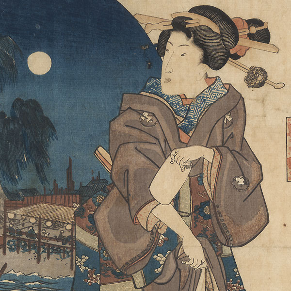 Beauty and Full Moon by Toyokuni III/Kunisada (1786 - 1864)