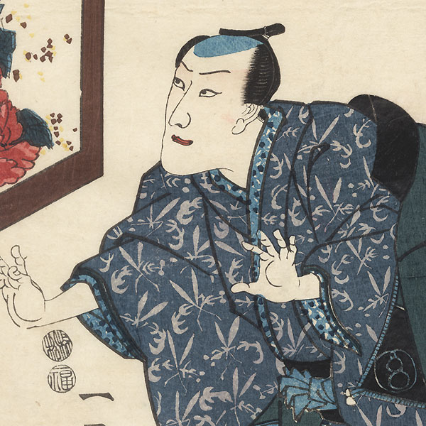 Scene from Date kurabe Okuni kabuki, 1849 by Kuniyoshi (1797 - 1861)