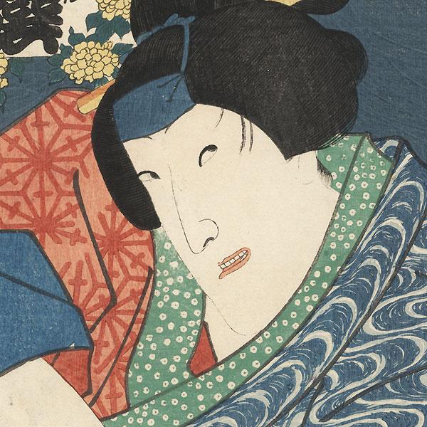 Kerria Rose of the Palace Garden: Iwai Kumesaburo III as Onoe's Servant Ohatsu, 1861 by Toyokuni III/Kunisada (1786 - 1864)