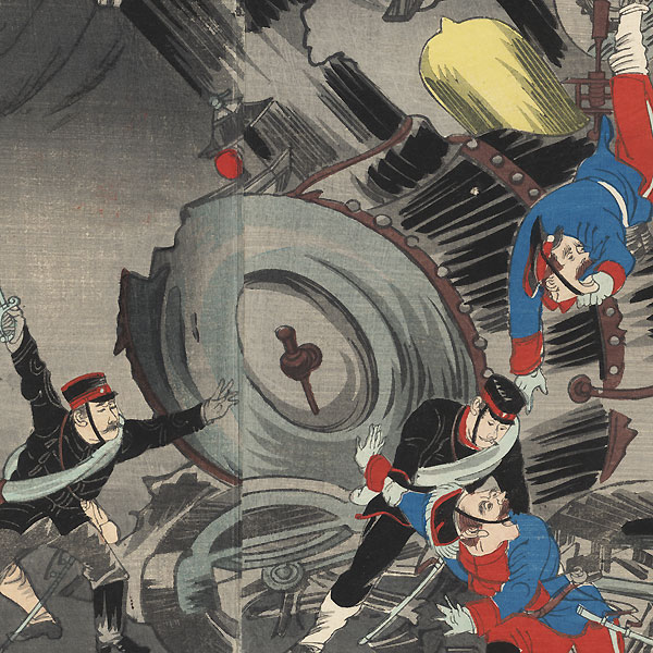 Destruction of the Railway in Manchuria during the Russo-Japanese War, 1904 by Rosetsu (active circa 1904)