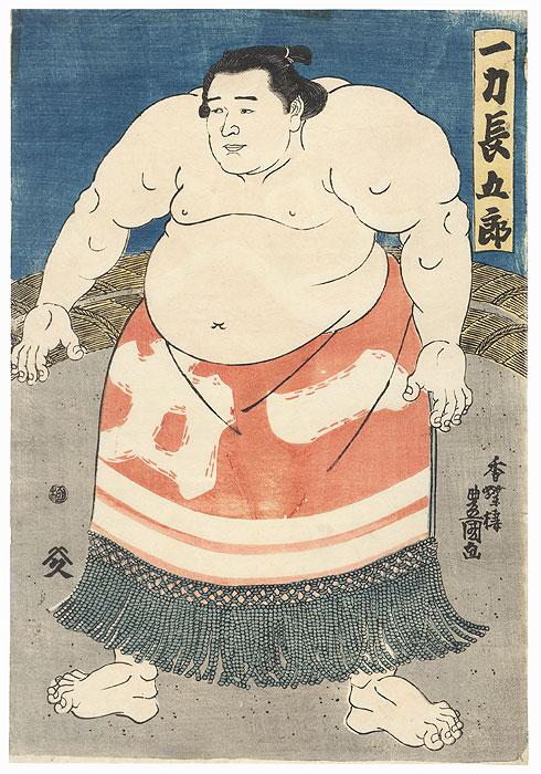 Sumo Wrestler in the Ring by Toyokuni III/Kunisada (1786 - 1864)