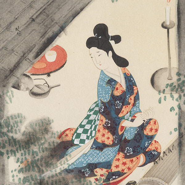 Karu Playing a Harp Laments Parting with Yoshitaka, 1921 by Shin-hanga & Modern artist (not read)