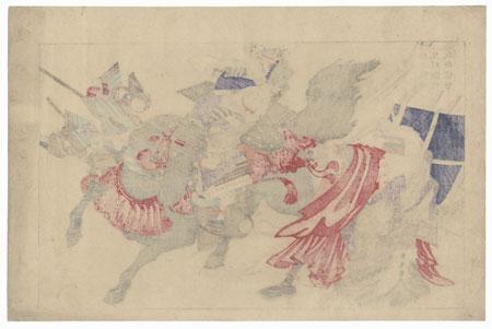 Takeda Shingen Attacking Uesugi Kenshin with Hara Osumi-no-kami Racing Up by Chikanobu (1838 - 1912)