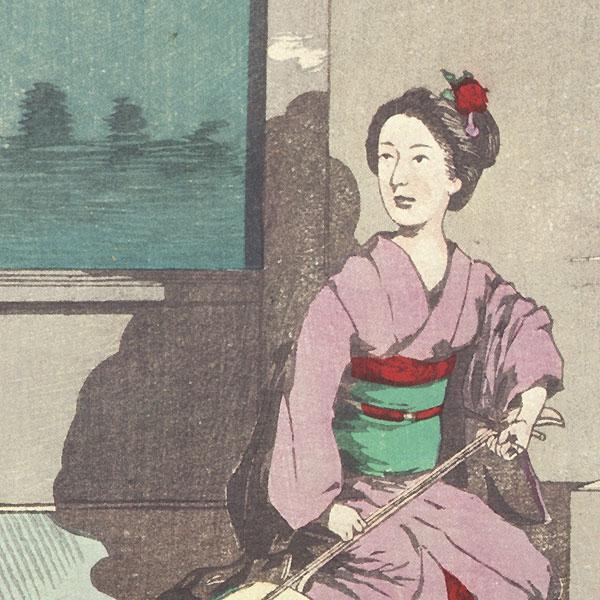 Summer Moon at Imado by Kiyochika (1847 - 1915)