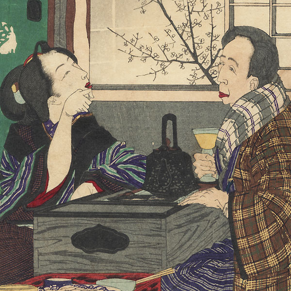 Dissolute Drinker: A Couple by a Window, No. 890 by Yoshitoshi (1839 - 1892)