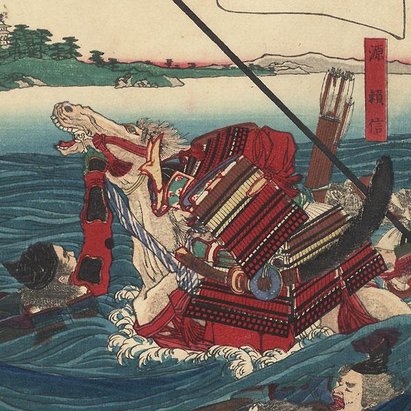 Minamoto no Yorinobu Swimming across a Bay to Attack Tadatsune, 1879 by Yoshitoshi (1839 - 1892)