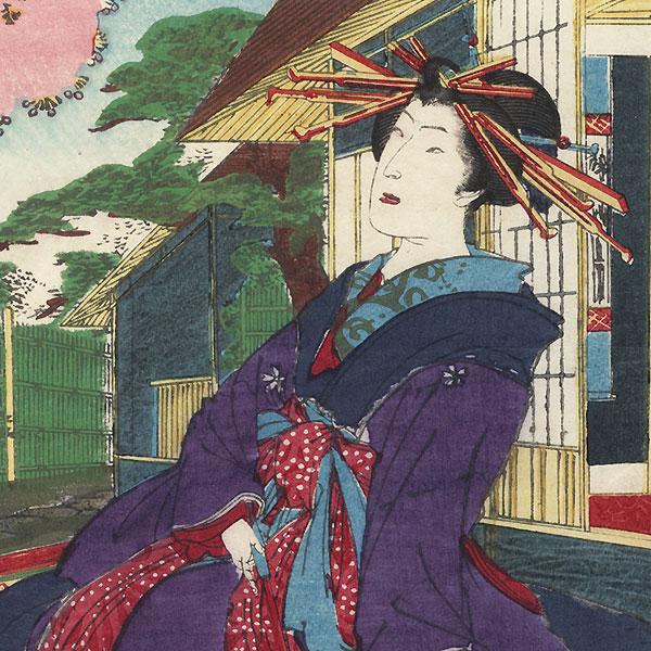 Seishi of Shinagawaro Viewing Cherry Blossoms by Kunichika (1835 - 1900)