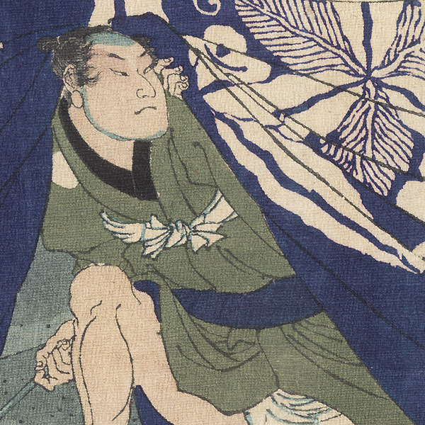 Asakura Tomigoro Ducking under a Curtain, 1867 by Yoshitoshi (1839 - 1892)