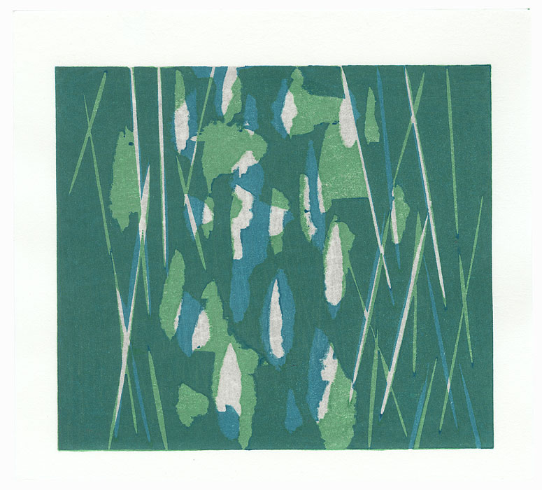 Abstract in Green and Blue by Yoshisuke Funasaka (born 1939)