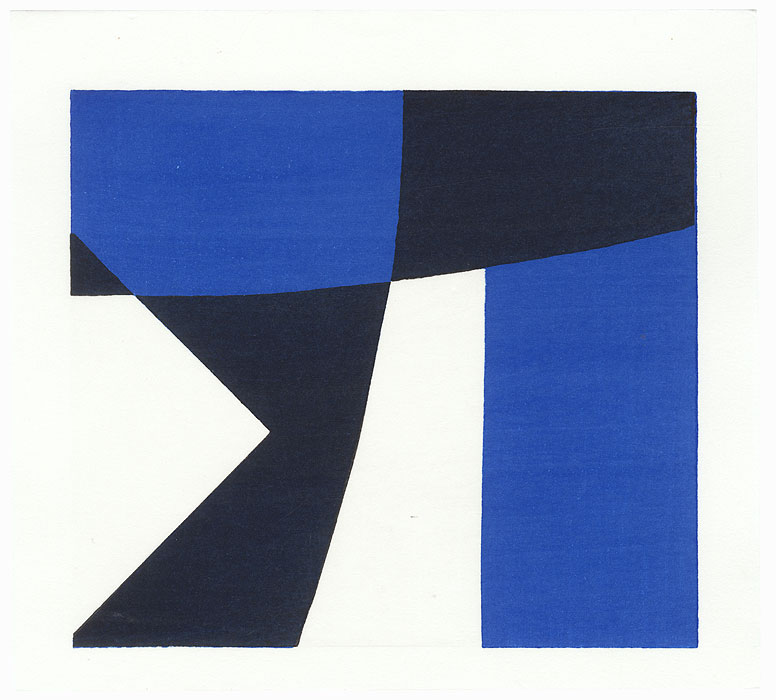 Abstract in Blue, Black, and White by Yoshisuke Funasaka (born 1939)