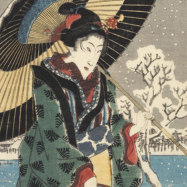 Snow Scene at Shinobazu Pond in Ueno, circa 1848 - 1849 by Hiroshige (1797 - 1858)