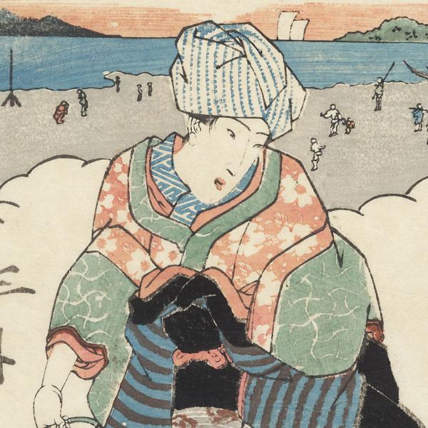 Beauty Collecting Shellfish by Sadafusa (active 1825 - 1850)
