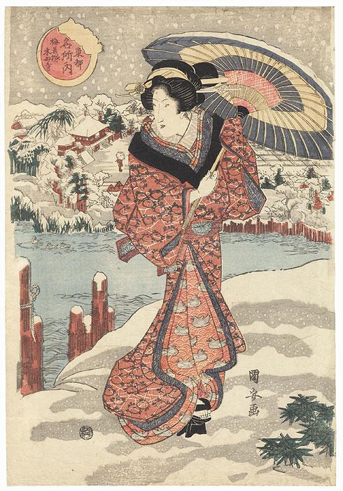 Beauty Standing in the Snow at the Tomb of Umewaka at Mokuboji by Kuniyasu (1797 - 1861)