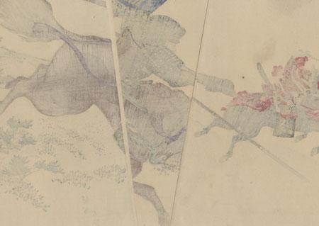 Sakakibara Yasumasa and Toyotomi Hideyoshi on Mt. Komaki by Chikanobu (1838 - 1912)