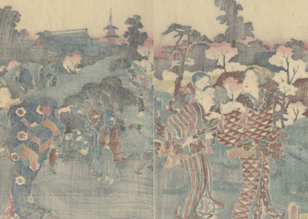Women in a Garden, 1852 by Toyokuni III/Kunisada (1786 - 1864)