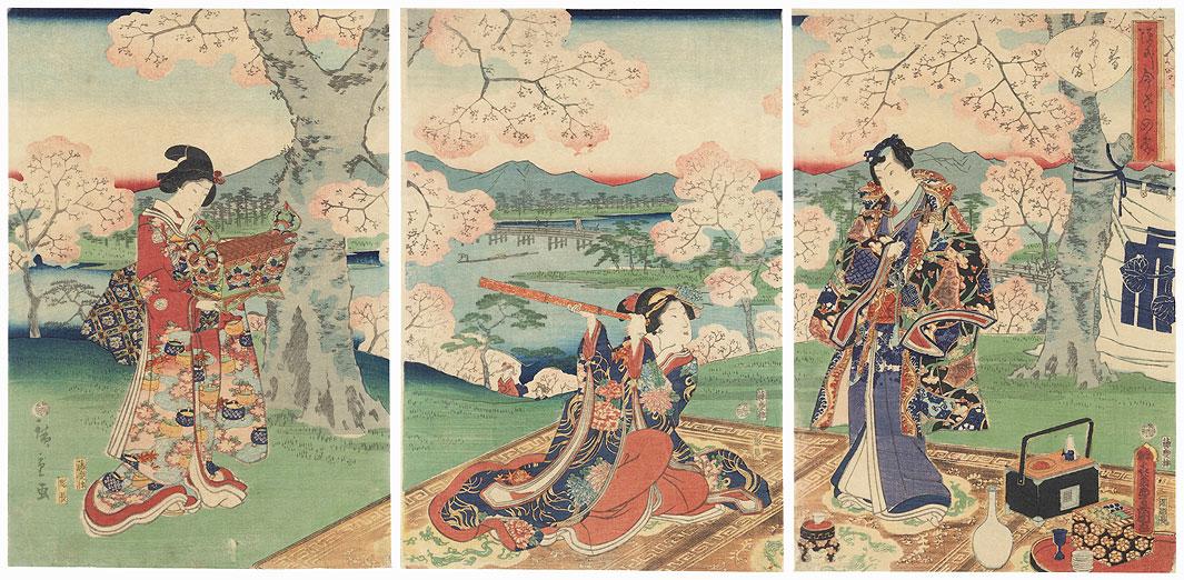 Spring at Arashiyama, 1862 by Hiroshige II (1826 - 1869) and Toyokuni III/Kunisada (1786 - 1864)