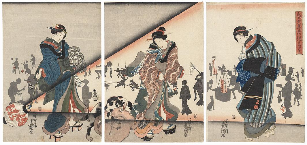 Beautiful Women Returning from the Bath on a Spring Night, 1843 - 1847 by Toyokuni III/Kunisada (1786 - 1864)