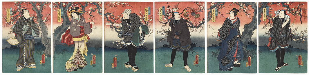 Actors under Blossoming Plum Trees, 1855 by Toyokuni III/Kunisada (1786 - 1864)