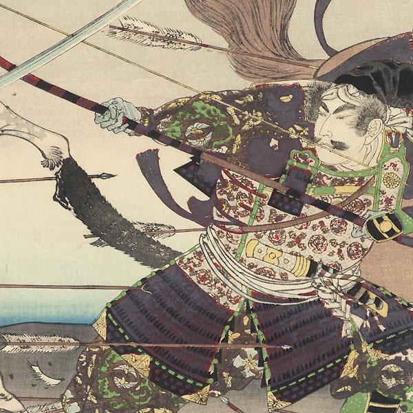 Shigemori and Yoshihira Battling Outside the Shishinden Palace, 1892 by Nobukazu (1874 - 1944)