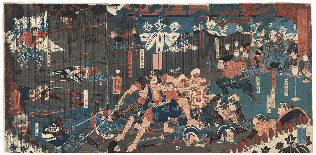On the 28th Day of the Fifth Month of 1193, in the Foothills of Mount Fuji, the Soga Brothers Carry Out a Night Attack and Achieve Their Desire, 1858 by Yoshikazu (active circa 1850 - 1870)