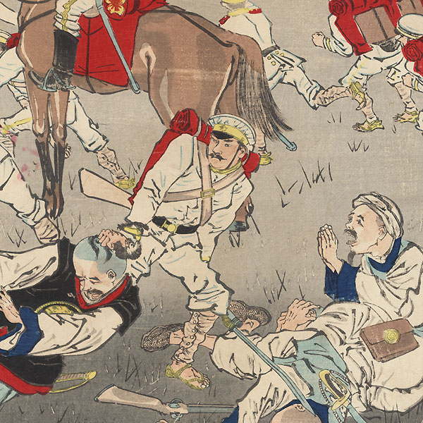 Fierce Battle between Japanese and Chinese Forces at Songhwan: Great Victory for Our Troops, 1894 by Kiyochika (1847 - 1915)