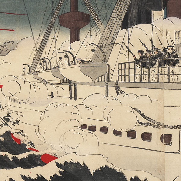 The Japanese Navy Fighting Bravely While Destroying Weihaiwei, 1895 by Toshiaki (1864 - 1921)