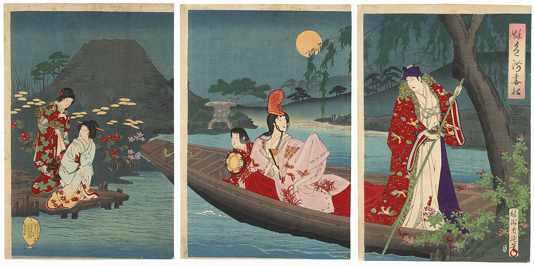 Boating under the Moonlight, 1890 by Chikanobu (1838 - 1912)