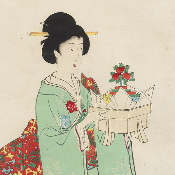 Beauty Carrying Sweets by Chikanobu (1838 - 1912)