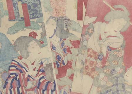 Matron and Lost Son; Shirabyoshi Dancer, 1892 by Kunisada III (1848 - 1920)