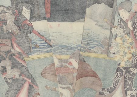 Thief and Samurai Confronting a Man, 1854 by Toyokuni III/Kunisada (1786 - 1864)