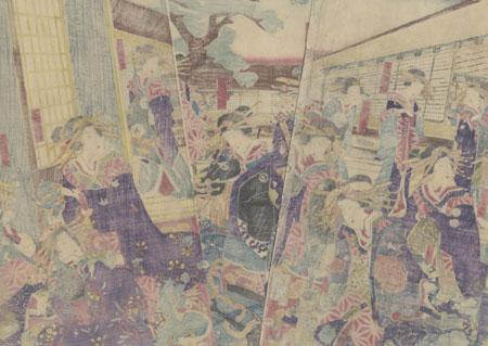 A Scene at the Shinagawa-ya in Fukagawa, 1868 by Yoshiiku (1833 - 1904)