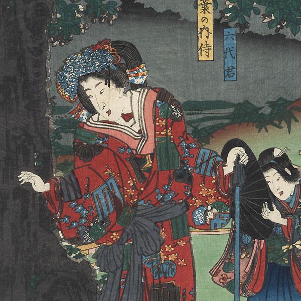Travelers under Attack, 1853 by Kunisada II (1823 - 1880)