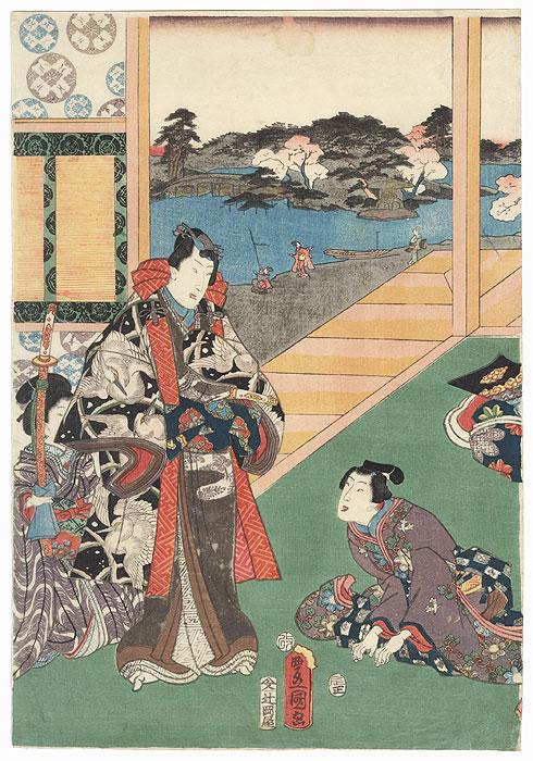 Prince Genji and Young Boy, 1854 by Toyokuni III/Kunisada (1786 - 1864)