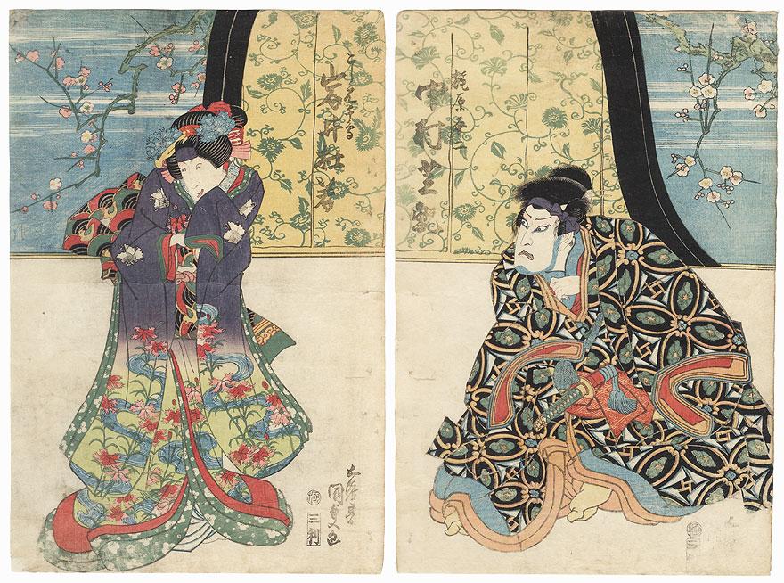 Beauty and Nakamura Shikan as Kajiwara Heiji, 1833 by Toyokuni III/Kunisada (1786 - 1864)