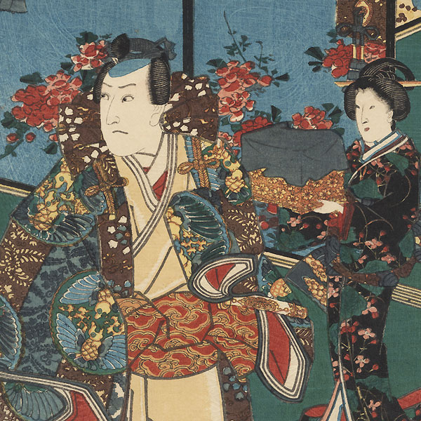 Sawamura Sojuro III as Mitsuuji's Father on the Palace Verandah, 1852 by Toyokuni III/Kunisada (1786 - 1864)