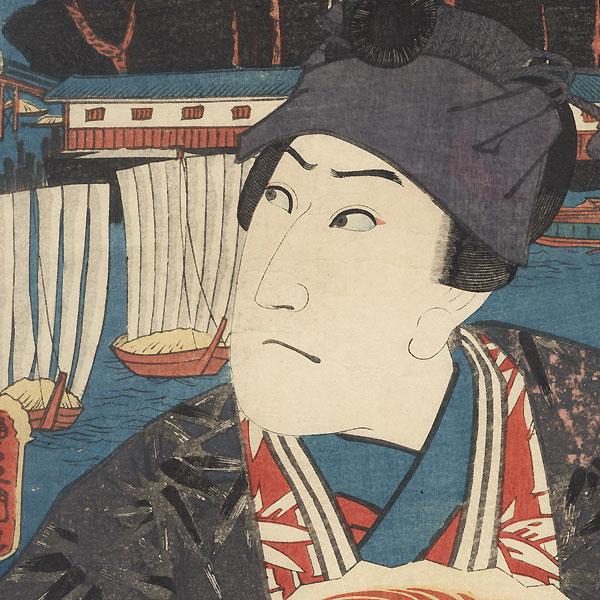 Mitsumata: Sawamura Sojuro III as Ashikaga Yorikane, 1852 by Toyokuni III/Kunisada (1786 - 1864)
