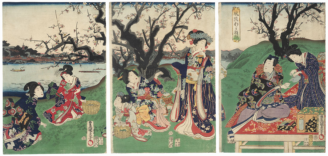 Fashionable Spring Herb-gathering, 1863 by Toyokuni III/Kunisada (1786 - 1864)