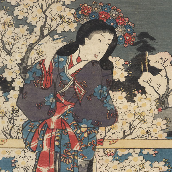 Cherry Blossoms at Night in the Garden of Returning Geese, 1854 by Toyokuni III/Kunisada (1786 - 1864)