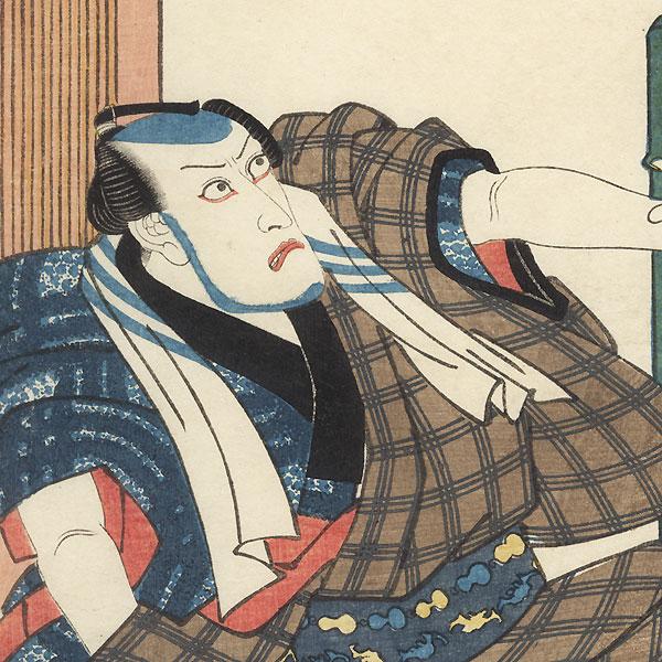 The 47 Ronin, Act 10: The Amakawaya Shop: Ichikawa Ebizo V as Amakawaya Gihei, 1833 by Toyokuni III/Kunisada (1786 - 1864)
