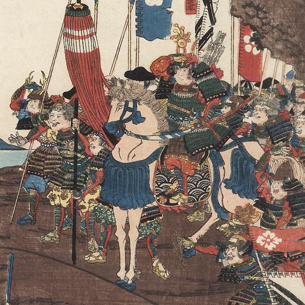 Taira General Yukimori and His Men Entrenched at Kojima Castle in Bizen Province, 1847 - 1852 by Yoshifuji (1828 - 1889)